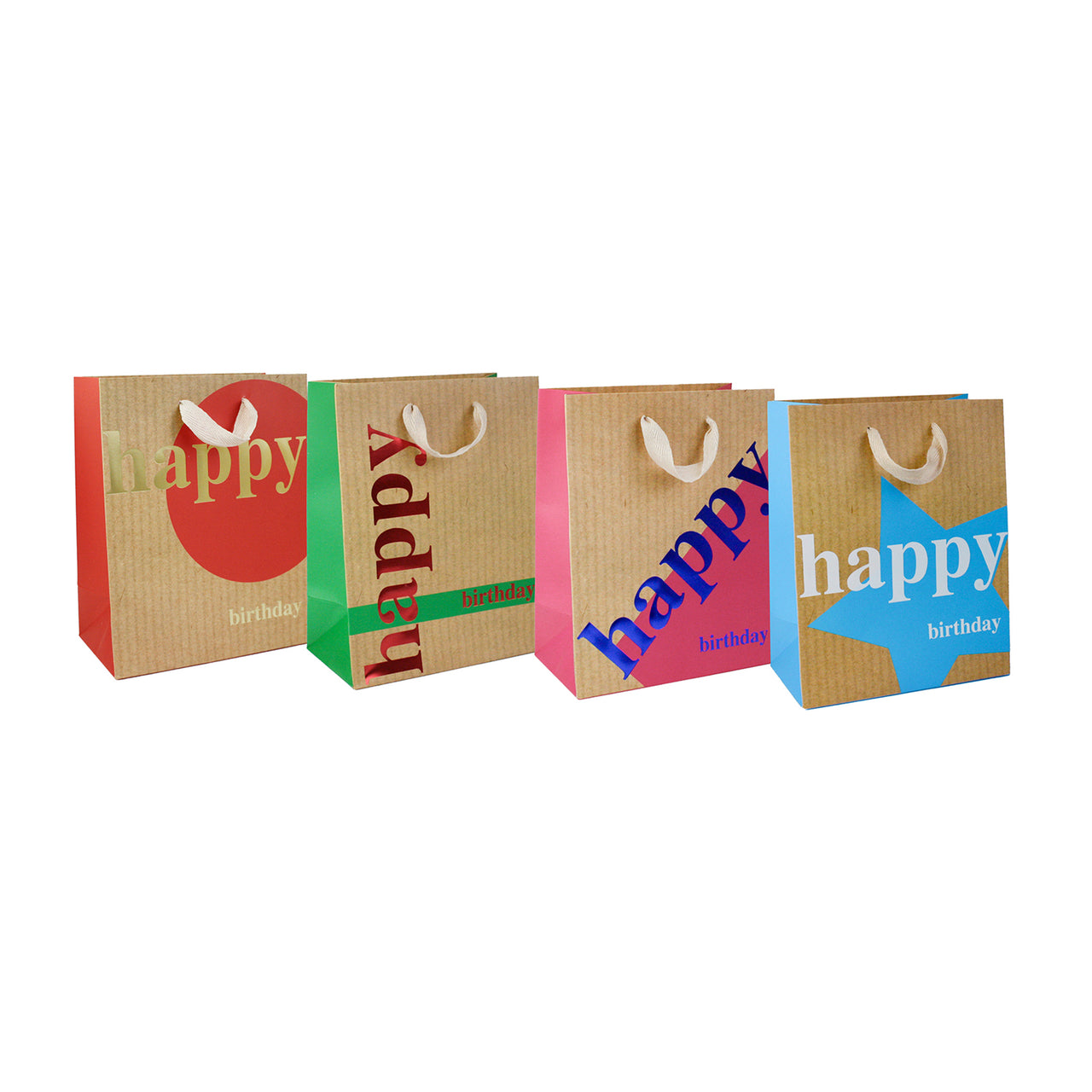 Brown Happy Birthday Gift Bag - Set of 4