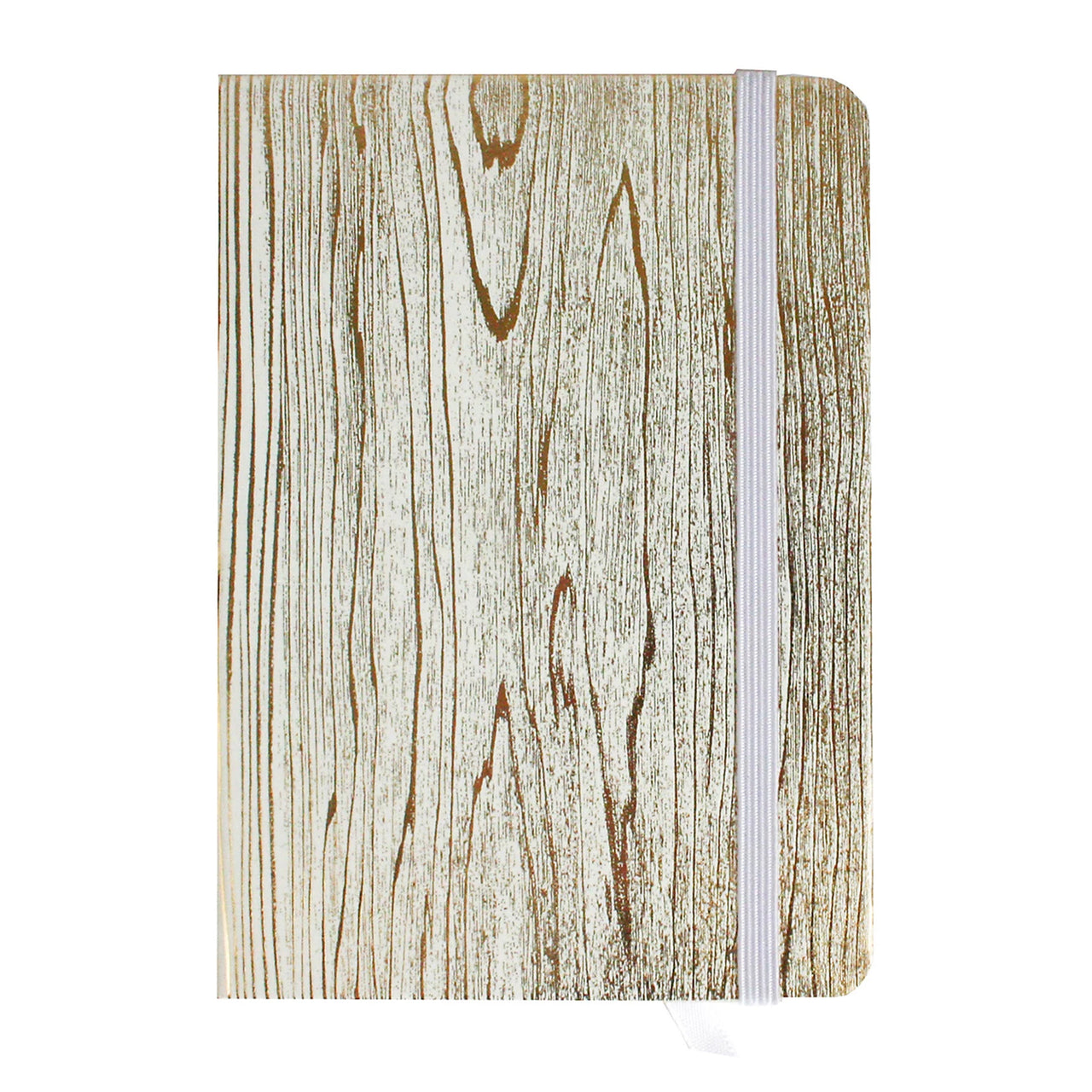 A6 Wood Effect Notebook - Metallic Gold - EMARTBUY