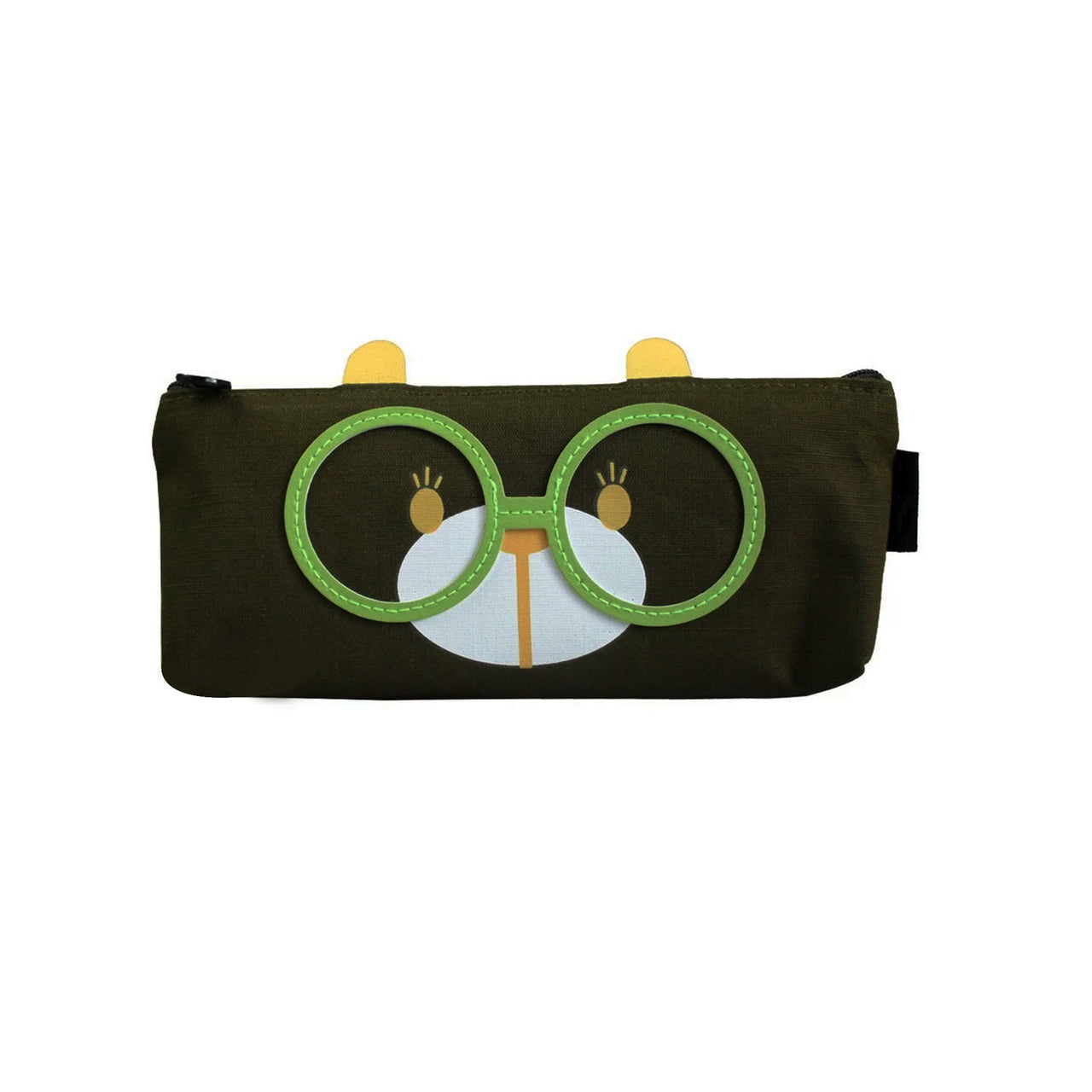 Glasses Fabric Pencil Case - Dark Green