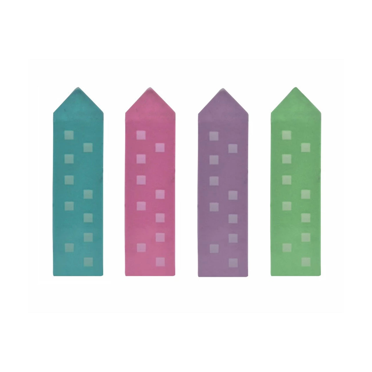 Multicoloured Tower Eraser - Set Of 4