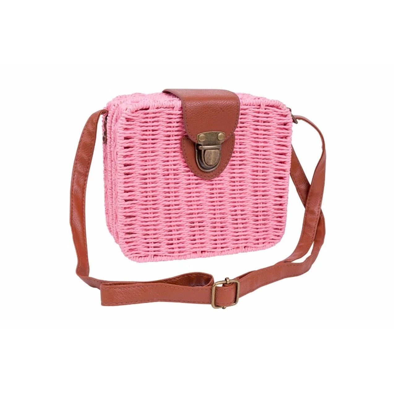 Square Wicker Sling Bag - Pink
