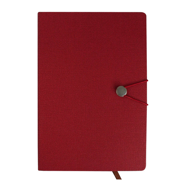 A5 PU Leather Hardbound Notebook - Red - EMARTBUY