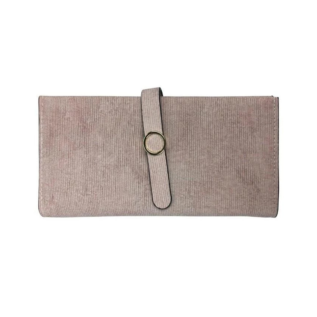 Faux Suede Gold Ring Wallet - Baby Pink