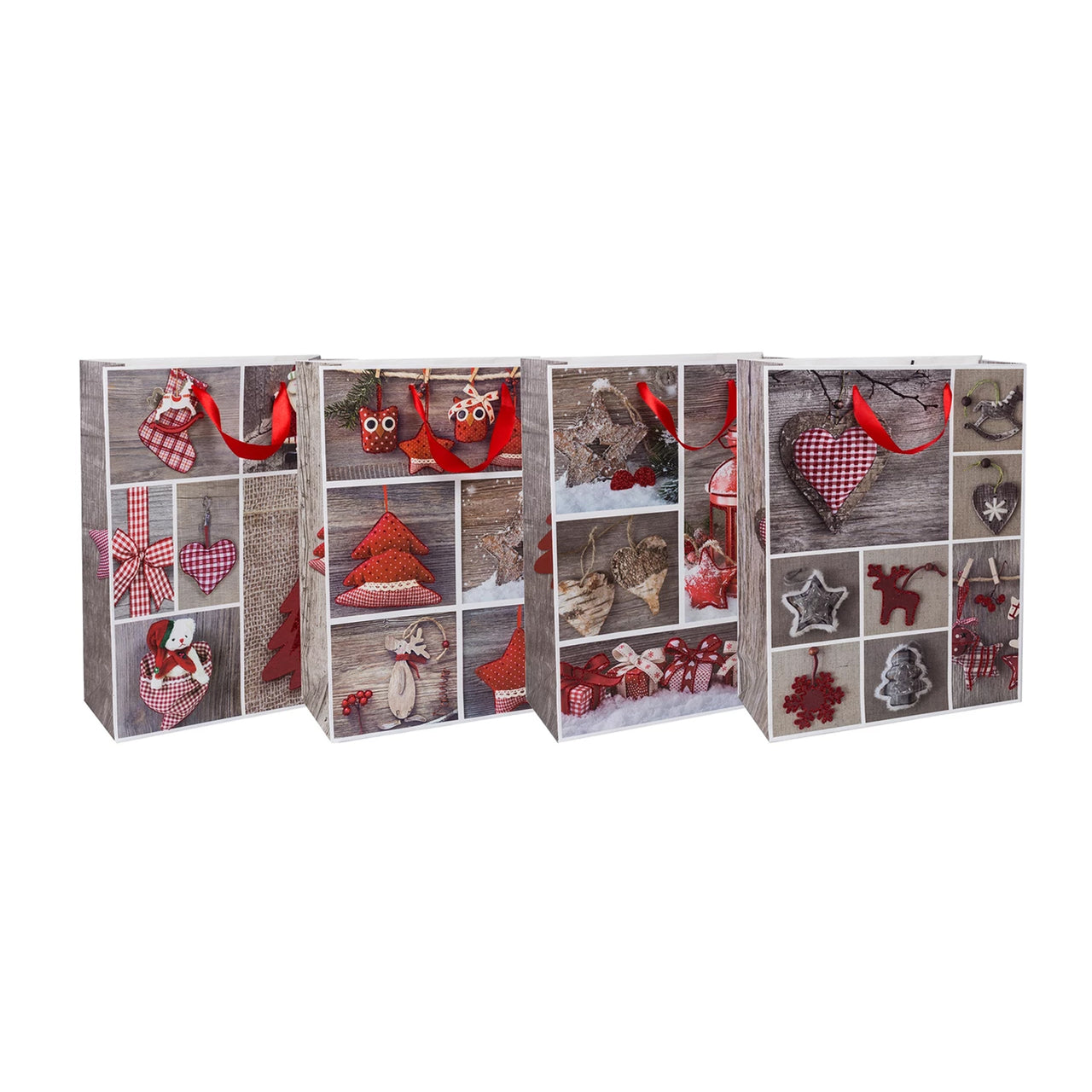 Festive Winter Christmas Gift Bags - Set of 4