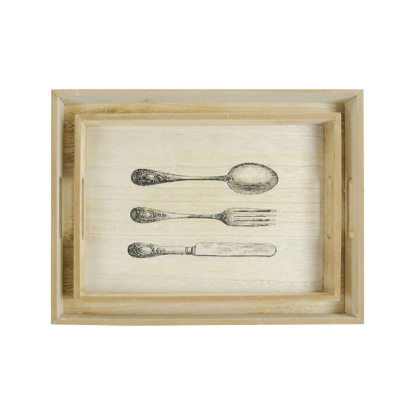 Kitchen Wooden Trays - Set of 2