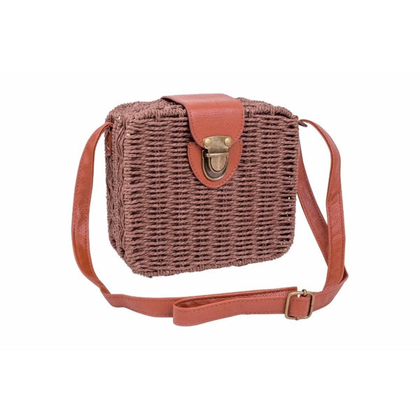 Square Wicker Sling Bag - Brown