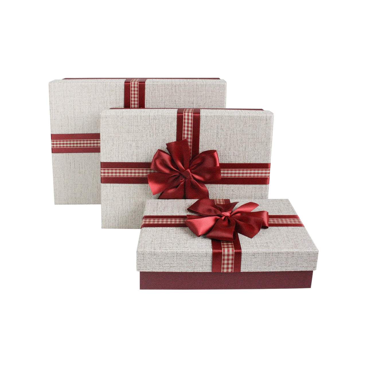Brown Maroon Bow Gift Box - Set Of 3