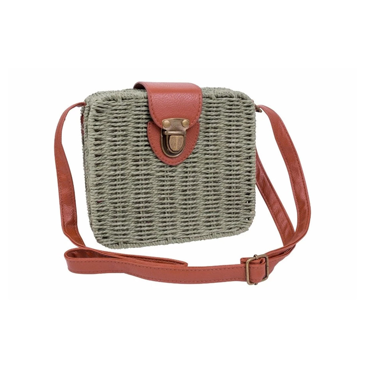Square Wicker Sling Bag - Olive Green