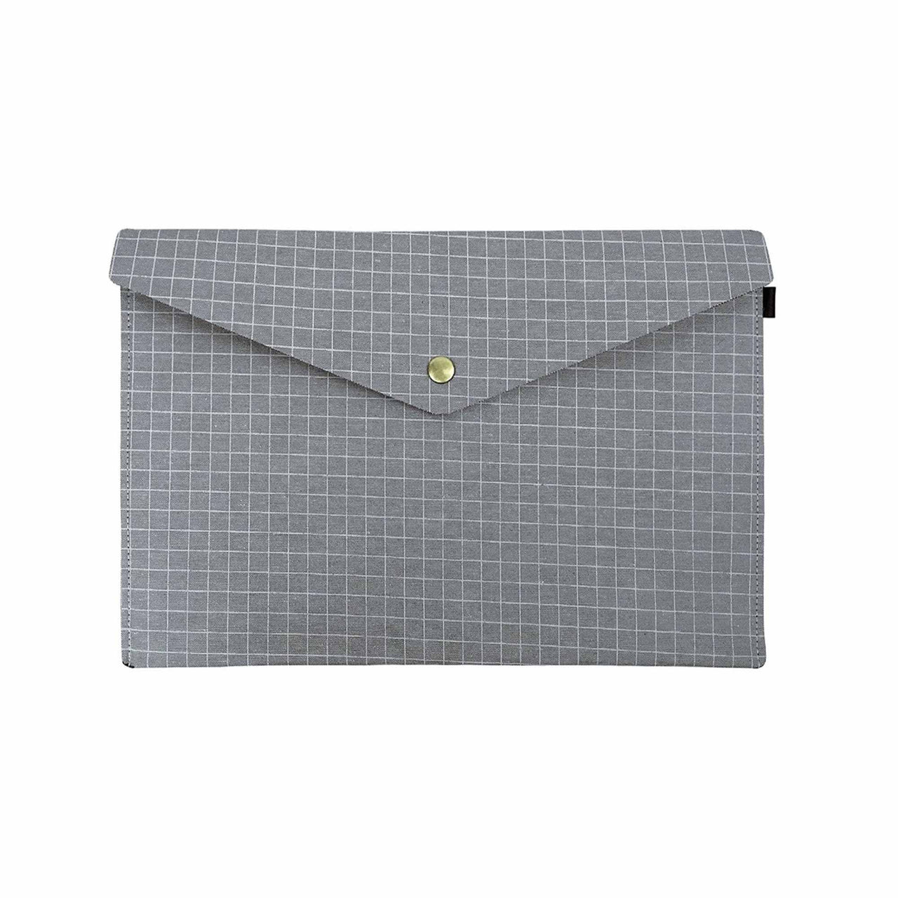 Chequered Fabric A4 Documents Folder Pouch - Grey