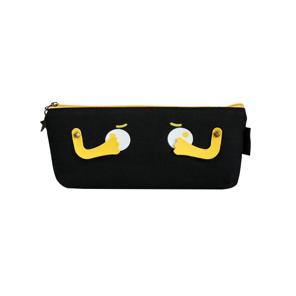 Eyes Fabric Pencil Case - Black