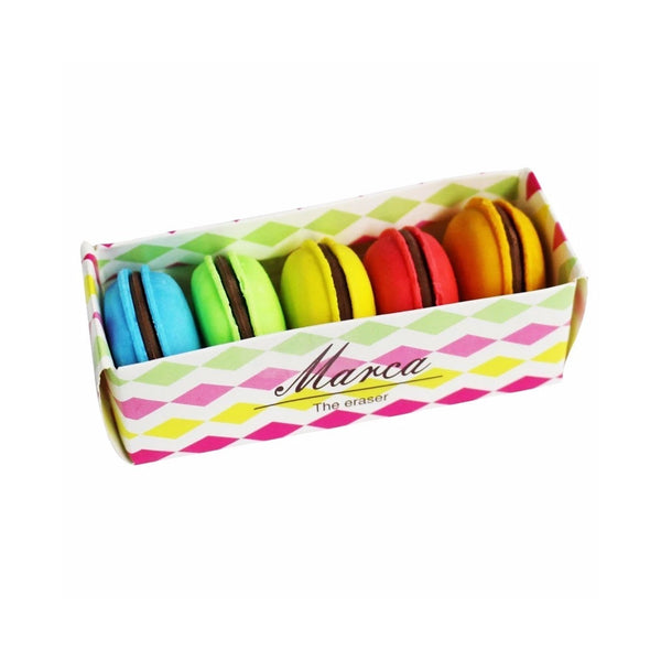 Multicoloured Macaroons Eraser - Set Of 5