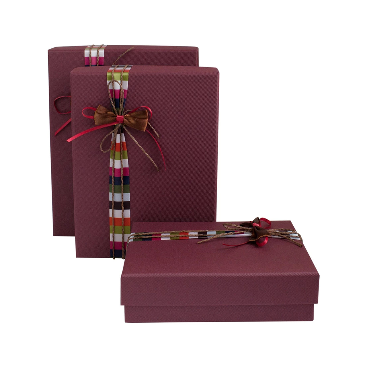 Burgundy Striped Bow Gift Box - Set of 3