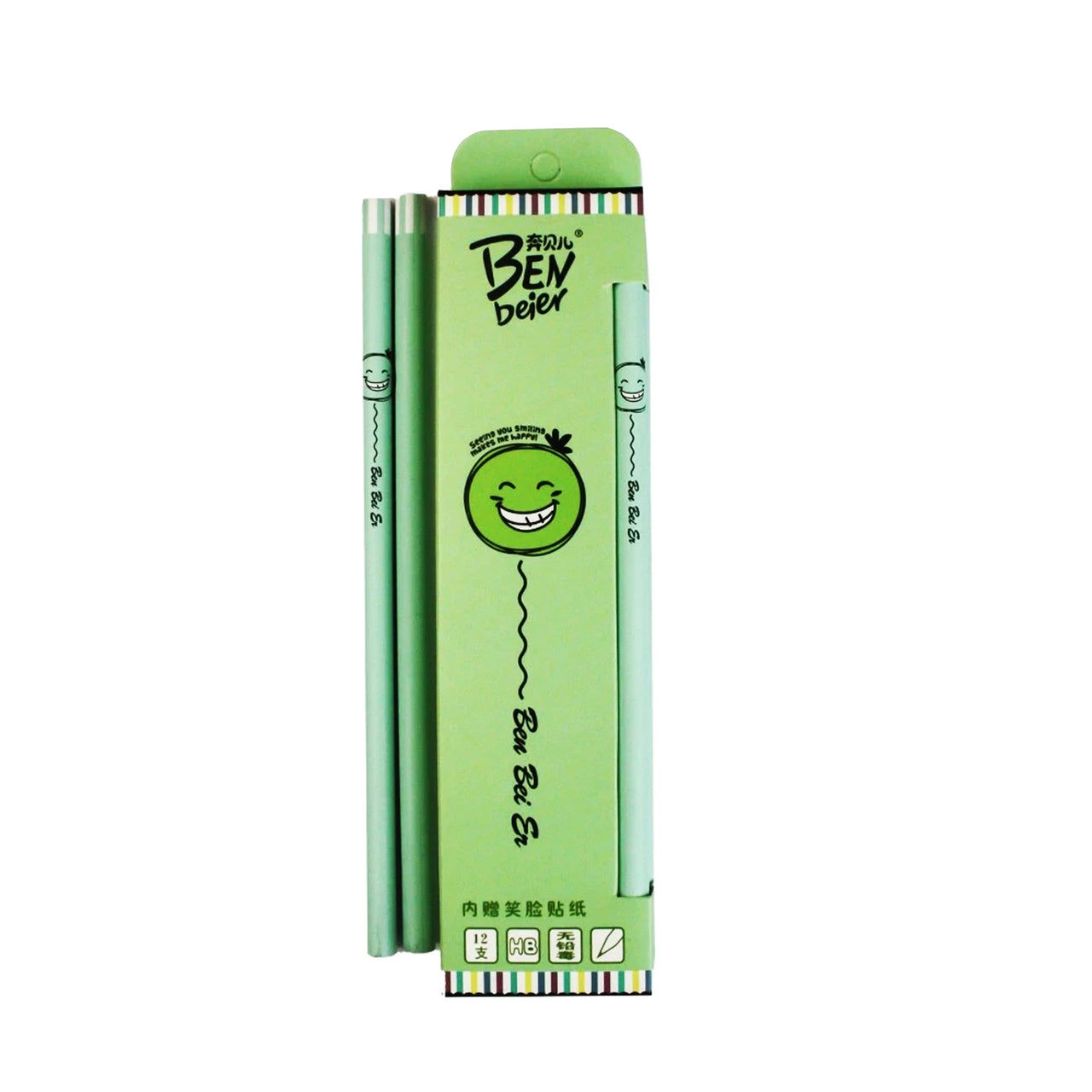 Green HB Faces Pencils - Set Of 12
