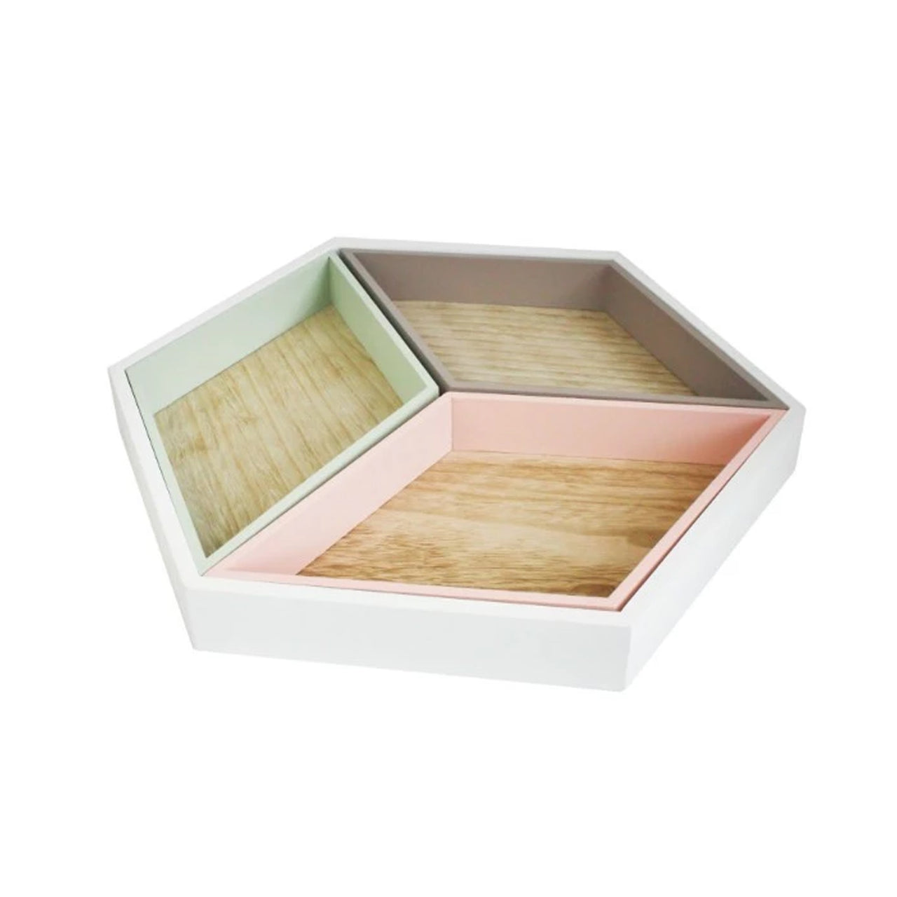 Hexagonal Wooden Tray - Pack of 4