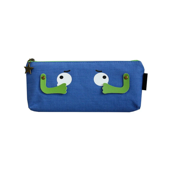 Eyes Fabric Pencil Case - Blue