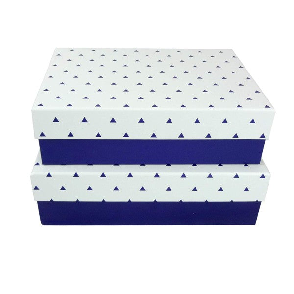 Dark Blue with White Small Triangles Lid Gift Box - Set of 2