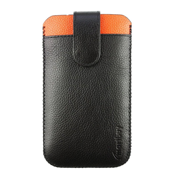 Genuine Leather Universal Phone Pouch - Black Orange