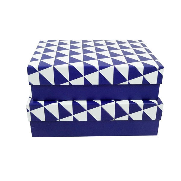 Dark Blue with Big Triangles Lid Gift Box - Set of 2