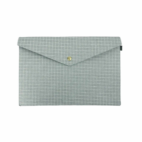 Chequered Fabric A4 Documents Folder Pouch - Green