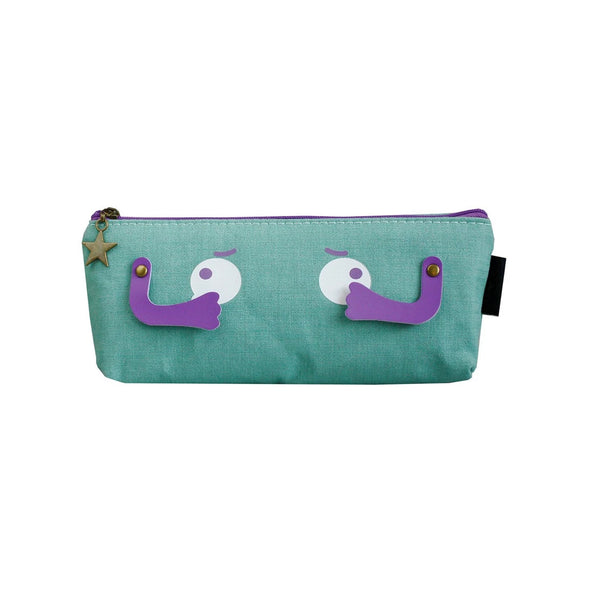 Eyes Fabric Pencil Case - Dark Green