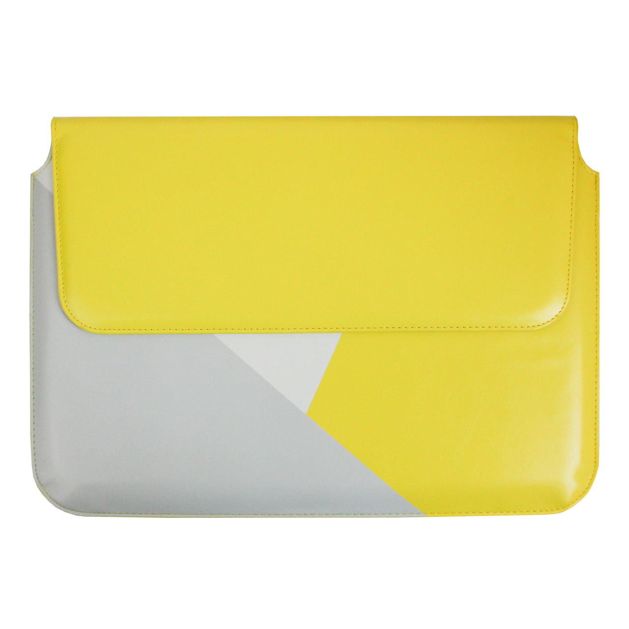 PU Leather Magnetic Folio - Yellow Grey