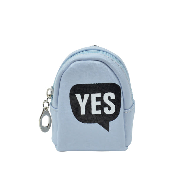 YES Light Blue Key ring Chain Holder Coin Purse