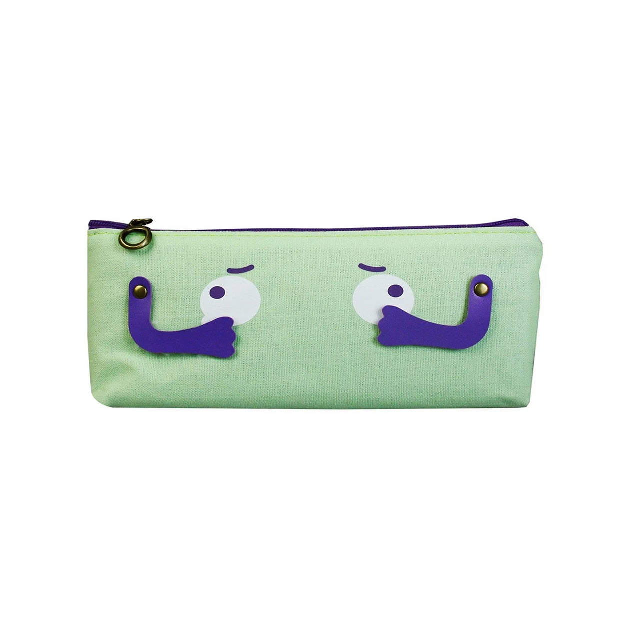 Eyes Fabric Pencil Case - Light Green