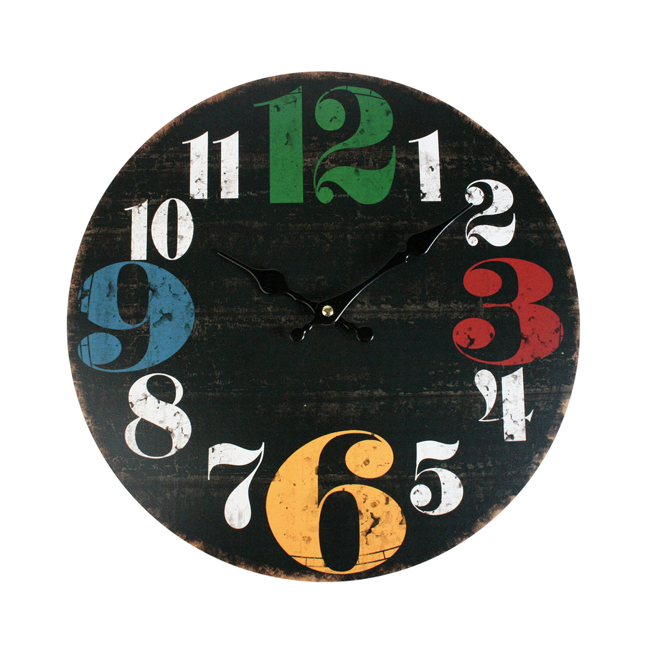 Round Multicoloured Numerals Wall Clock