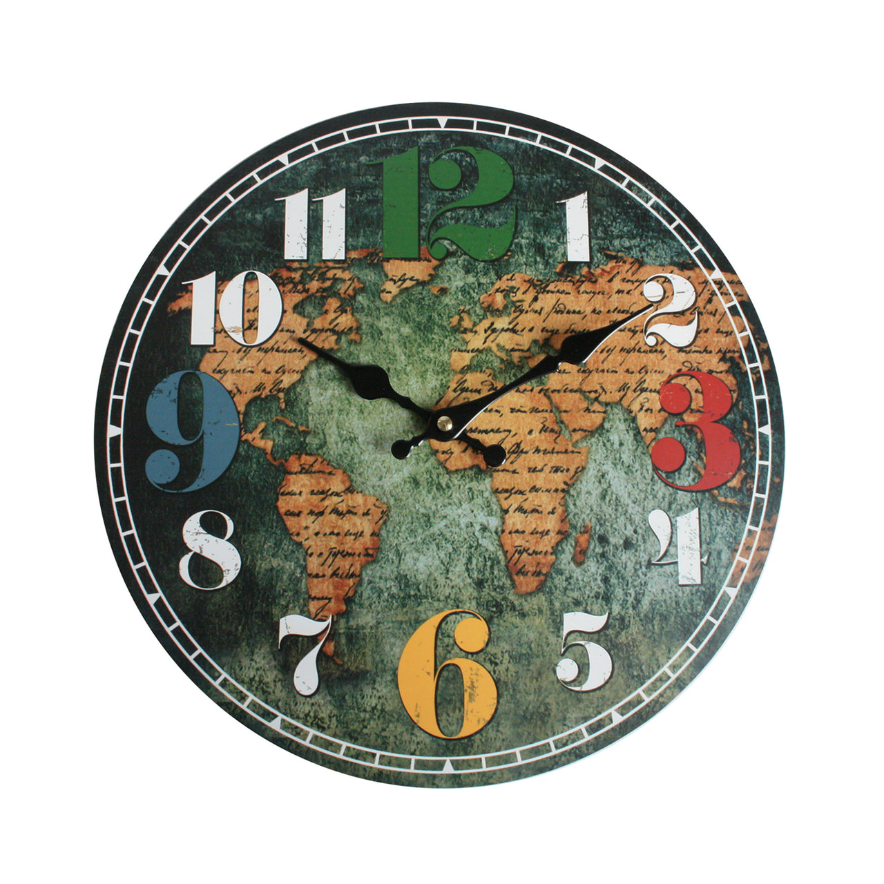Round World Map Wall Clock