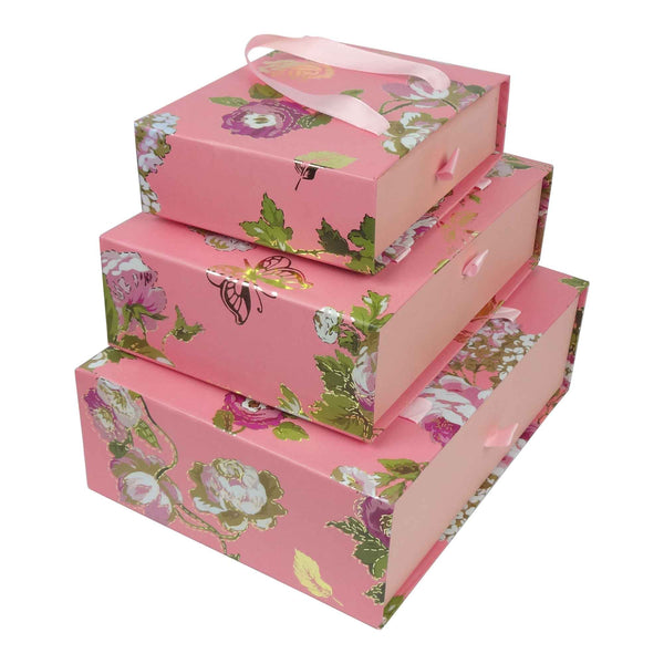Pink Floral Gift Box - Set Of 3