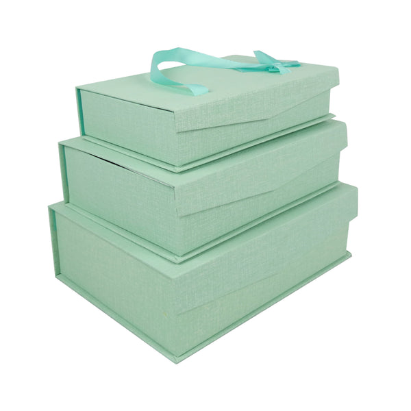 Sea Green Gift Box with Magnetic Flip - Set of 3