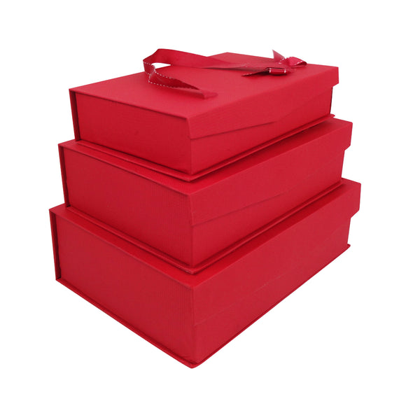 Red Gift Box with Magnetic Flip - Set of 3