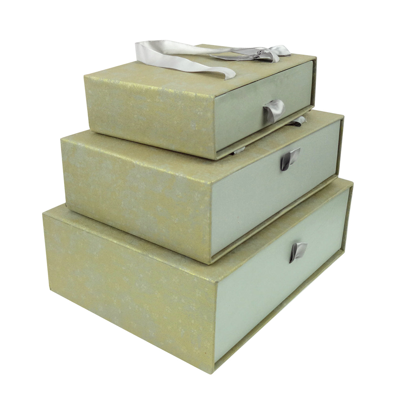 Grey Gold Metallic Gift Box - Set Of 3