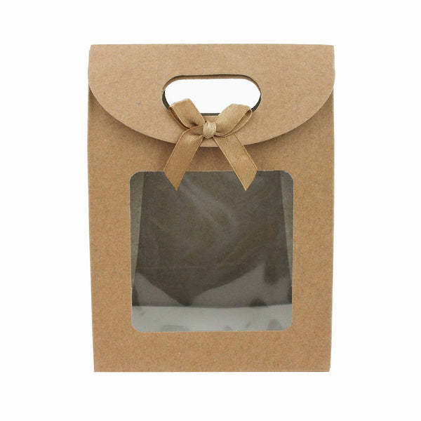 Brown Bow Gift Bag - Pack of 12