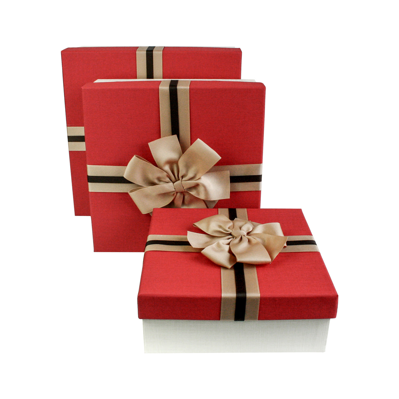 Cream Red with Bow Gift Box - Set Of 3