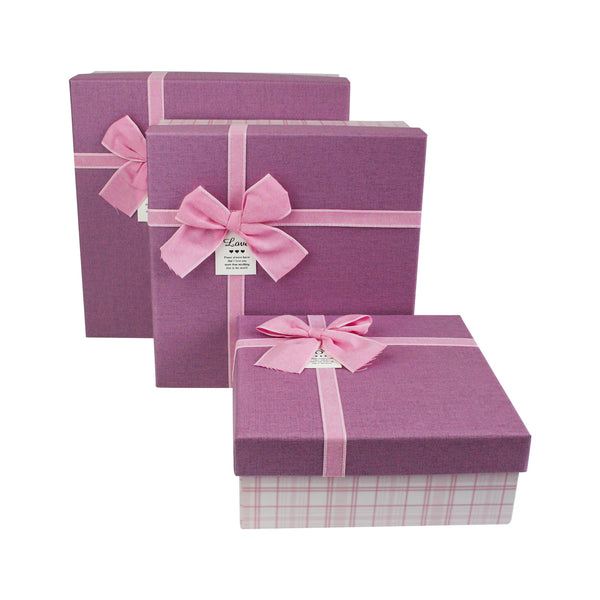 Chequered Gift Box Pink - Set Of 3