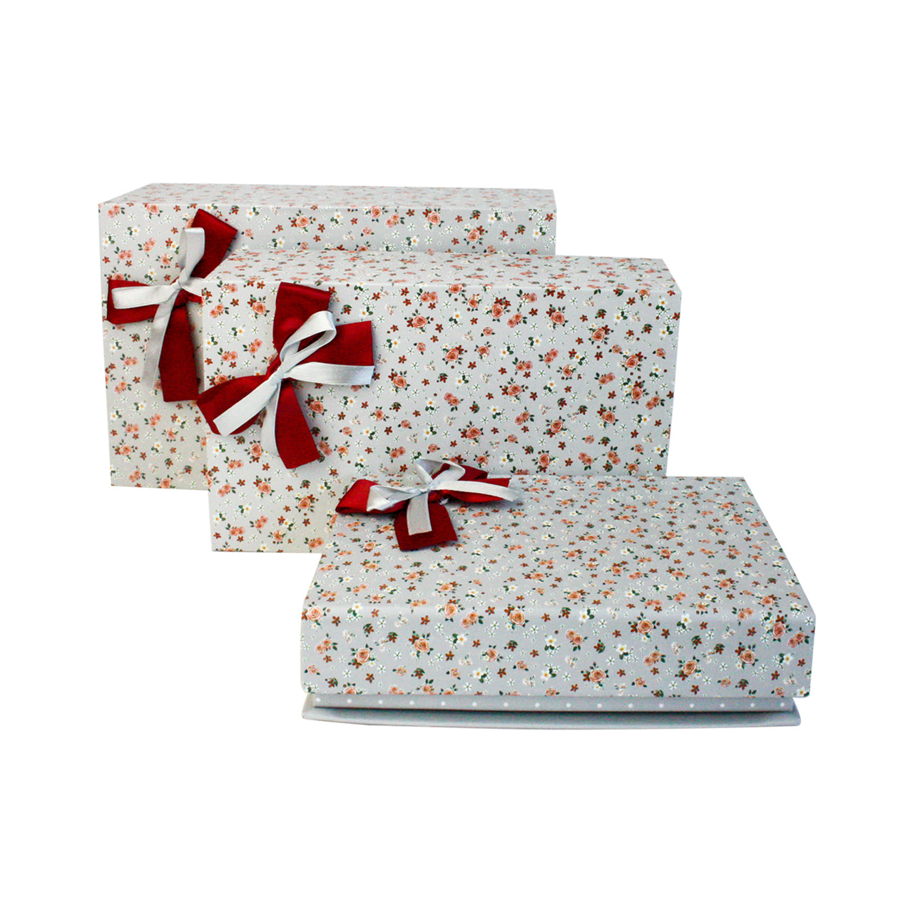 Grey Floral Magnetic Gift Box - Set Of 3