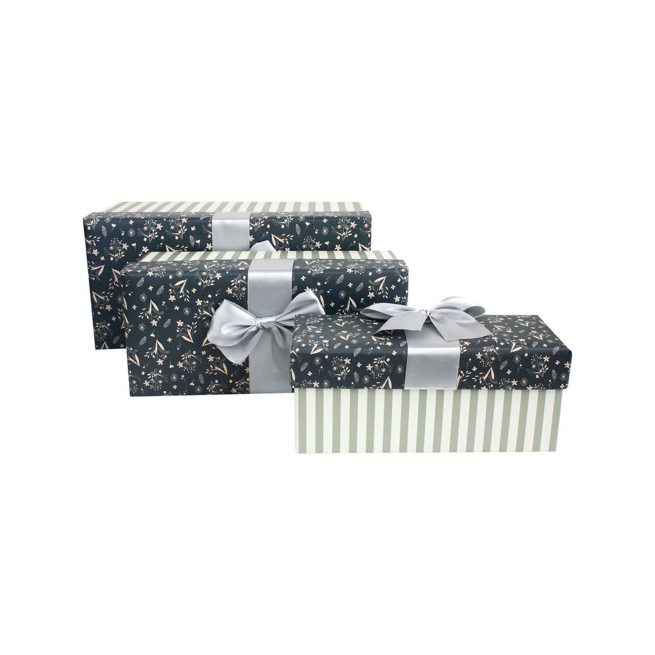 Grey Silver Floral Gift Box - Set Of 3