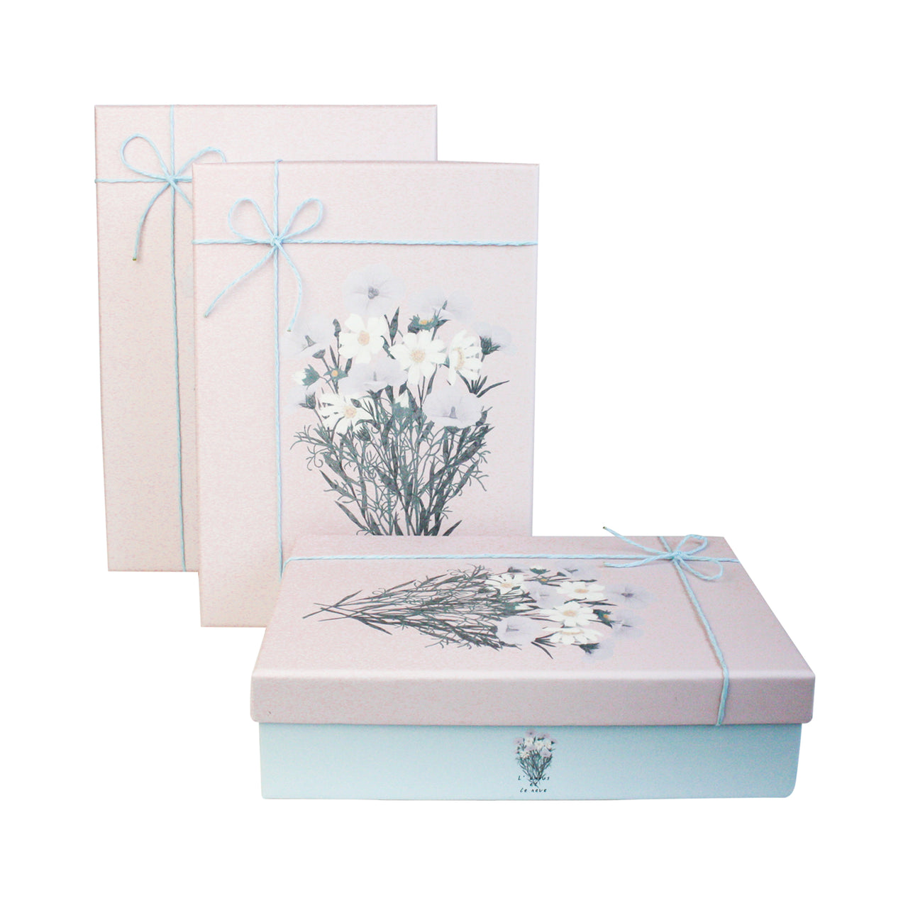 Blue Pink Bouquet Gift Box - Set Of 3 - EMARTBUY