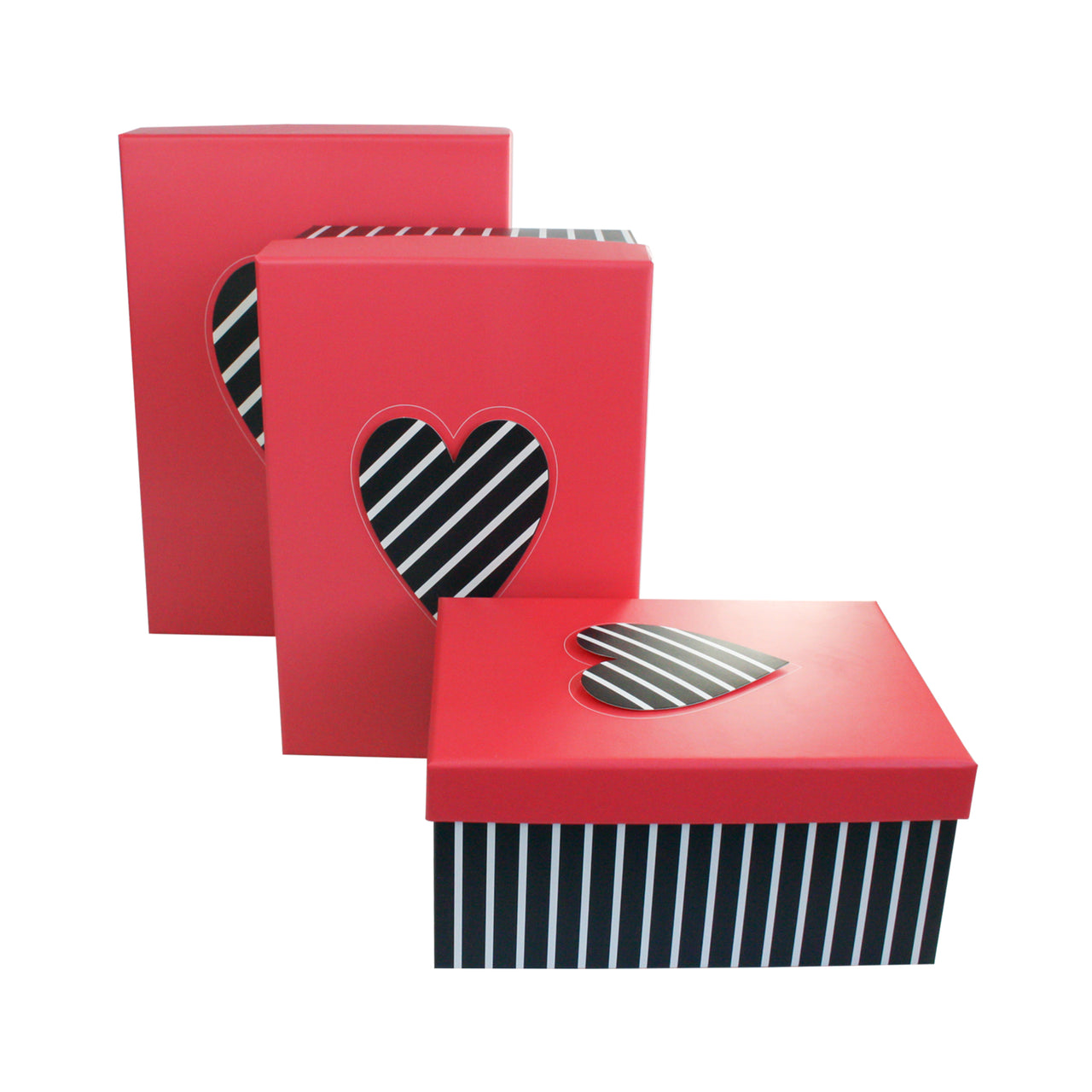 Pink Black Stripes Gift Box - Set Of 3