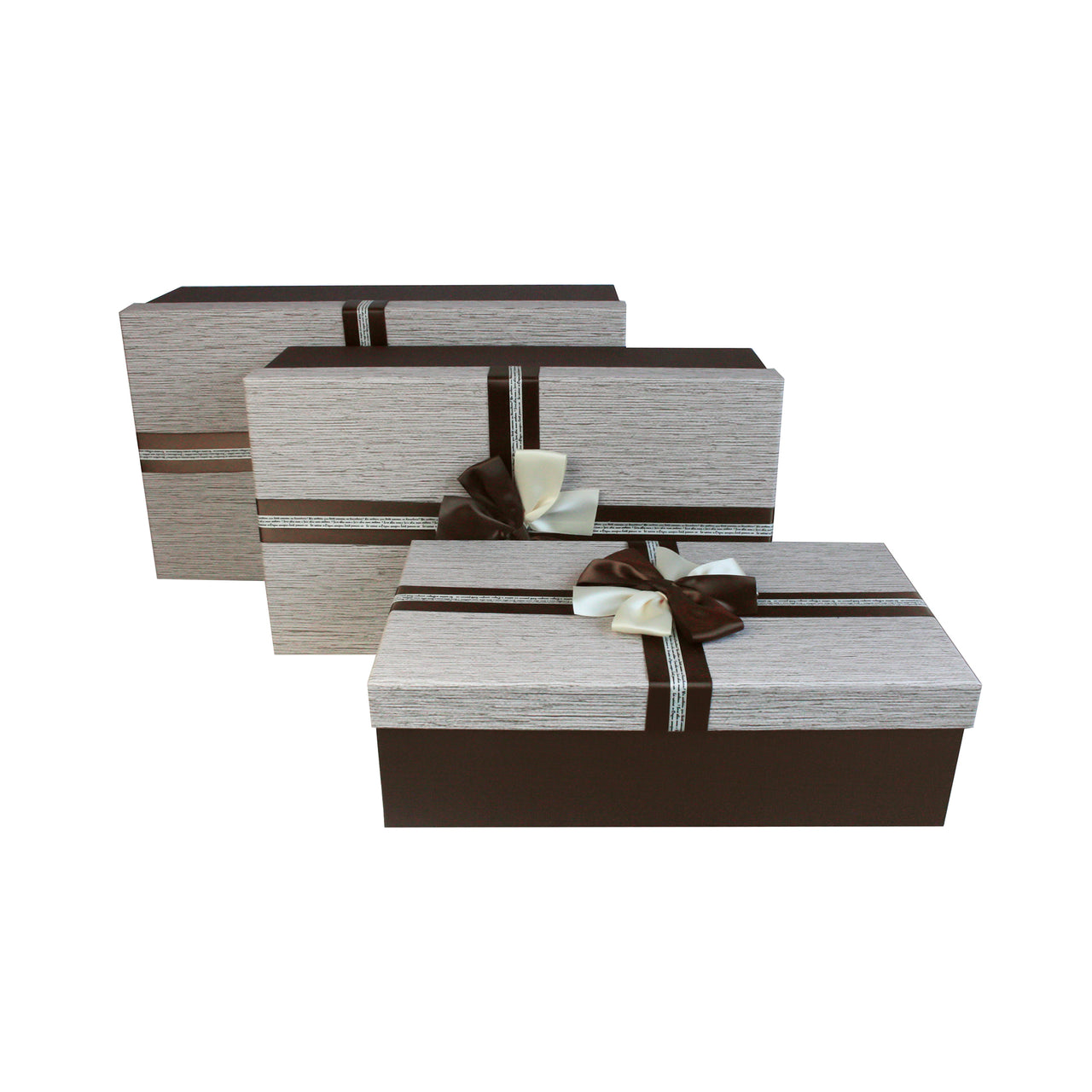 Brown Cream Bow Gift Box - Set Of 3