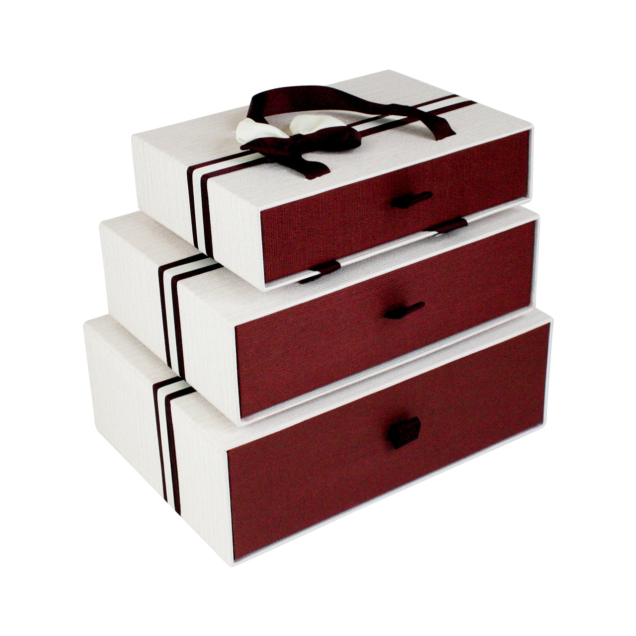 Cream Burgundy Striped Gift Box - Set Of 3