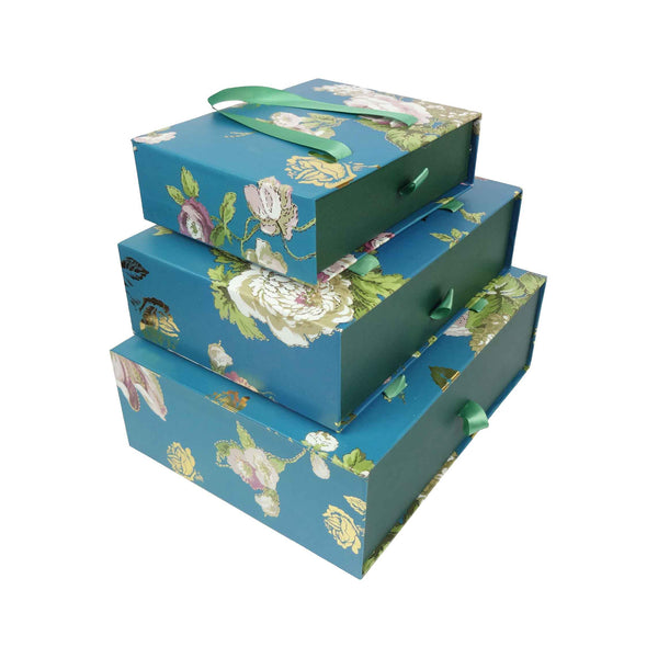 Floral Print Gift Box Dark Blue - Set of 3