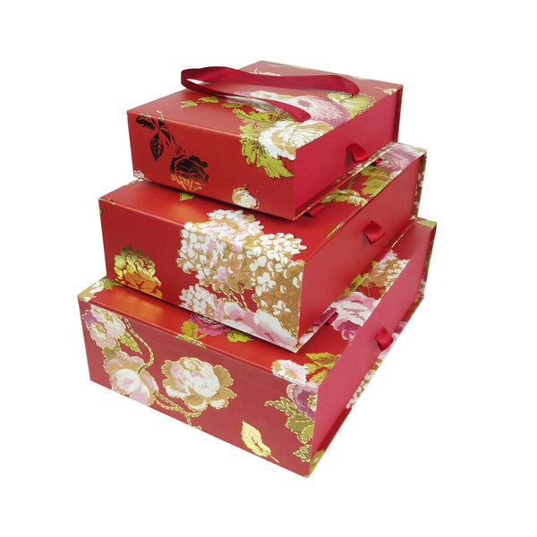 Floral Print Gift Box Red - Set of 3