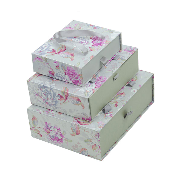Silver Floral Gift Box - Set Of 3