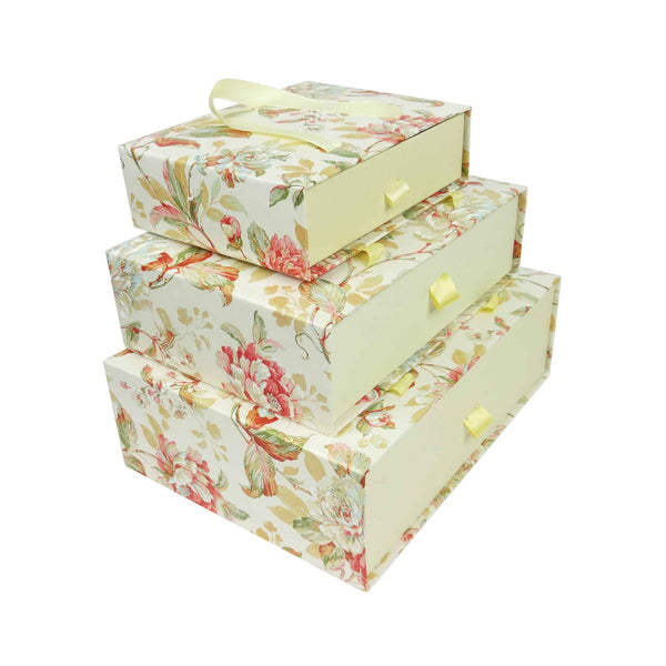 Floral Print Gift Box Cream  - Set of 3