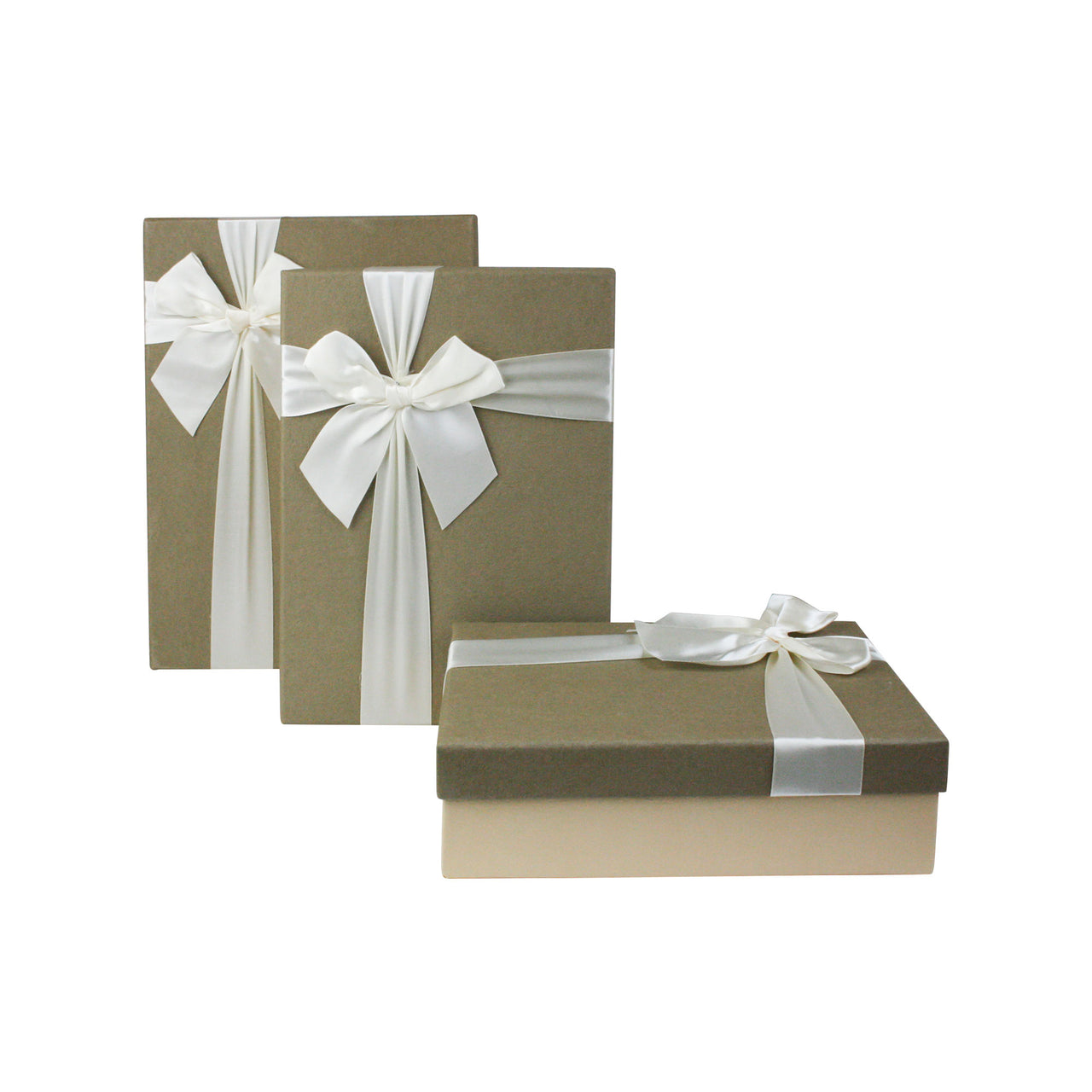 Cream Khaki with Bow Gift Box - Set Of 3