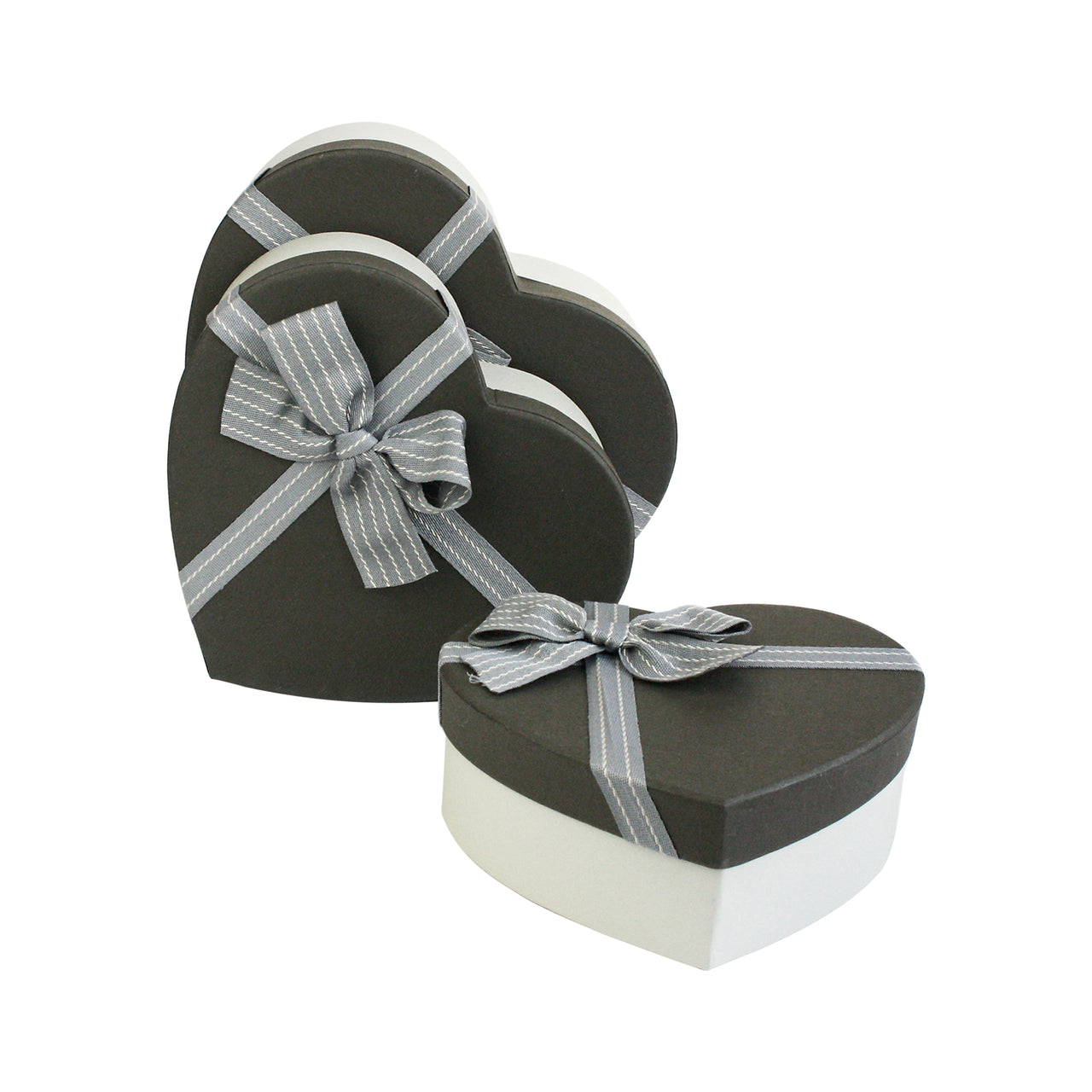 Grey Stripped Bow Gift Box - Set Of 3