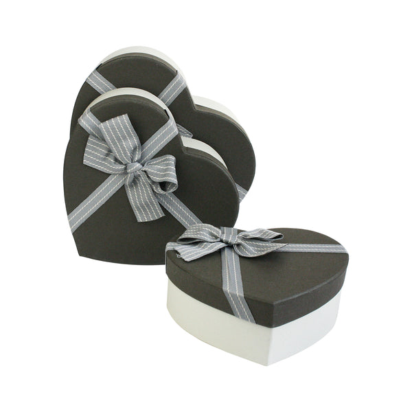 Luxury Beige & Dark Brown Heart Gift Box - Set of 3