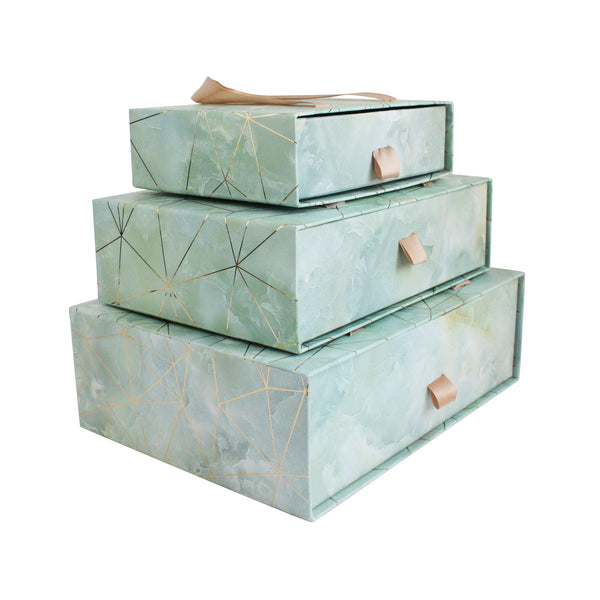 Sea Green Marble Print Gift Box - Set of 3